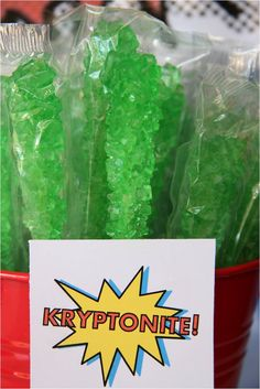 Superhero Party - Kryptonite - Sour Apple Rock Candy Sticks Superhero Treats, Superhero Party Favors, Superhero Birthday Cake, 4th Birthday, Dc Superhero Girls Cake, Superhero Party Activities, Super Hero Birthday, Hulk Birthday, Avengers Birthday
