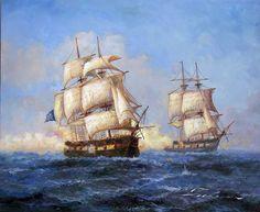 1700s Pirate Ocean Battle SHIP Jolly Roger Oil Painting