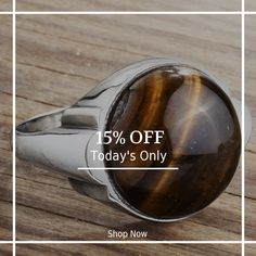Today Only! 15% OFF this item.  Follow us on Pinterest to be the first to see our exciting Daily Deals. Today's Product: 925 Sterling Silver Men's Ring with Brown Tiger's Eye Natural Stone Buy now: http://www.jewelsformen.com/products/copy-of-mens-ring-silver-with-blue-turquoise-natural-gemstone-3?utm_source=Pinterest&utm_medium=Orangetwig_Marketing&utm_campaign=Daily%20Deal   #fashionnews #jewelrytrends #streetfashionstyle #mensjewelryfashion #jewelsformen #mensjewelryshop #instafashion…