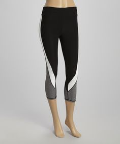 This Black & Heather Gray Swooped Color Block Capri Leggings by ReActivate is perfect! #zulilyfinds