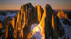 Howser Spires at Sunset, Bugaboo Glacier, British Columbia, Canada