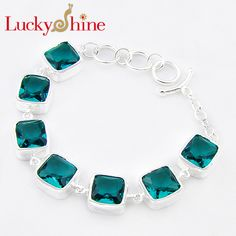 Promotion Luckyshine Fire Superb Square Shiny Fire Green Quartz Gems Chain Bracelets Russia Australia Bracelets Bangles