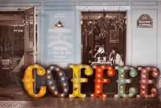 Coffee Marquee Sign marquee light Marquee by TLNFunctionalArt Coffee Signs, My Coffee, Morning Coffee, Coffee Shop, Coffee Cups, Coffe Bar, Coffee Time, Coffee Percolator, Coffee Truck