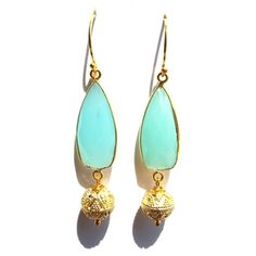 Chalcedony and Vermeil Decorative Sphere Earrings | Available only at Peyton William. www.peytonwilliam.com