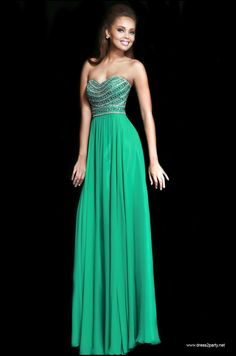 Luck of the Irish in a beautiful emerald green full length dress that is strapless with a beaded bust and a full chiffon skirt. This will look amazing with simple silver accessories. Sherri Hill style 8546 found at Dress 2 Party.