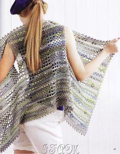 Long drape front vest in crochet Ivelise Feito à Mão: Colete Assimétrico Em Crochê....