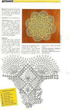 Crochet Doily with instructions. Filet Crochet, Art Au Crochet, Crochet Doily Diagram, Crochet Doily Patterns, Crochet Books, Crochet Home, Thread Crochet, Love Crochet, Beautiful Crochet
