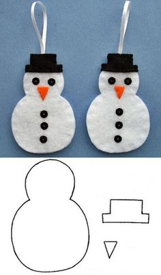 Christmas Sewing, Christmas Crafts For Kids, Christmas Projects, Holiday Crafts, Christmas Diy, Handmade Christmas Crafts, Snowman Christmas Ornaments, Felt Christmas Decorations, Felt Ornaments