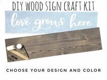 Load image into Gallery viewer, DIY Wood Sign Kit | Various Designs | Plank Stained Board Diy Wood Signs, Rustic Wood Signs, Custom Stencils, Stencil Designs, Nursery Wood Sign, Make Your Own Sign, Hand Painted Walls, Craft Night, Stain Colors