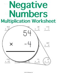 Multiplying Negative Numbers Worksheet
