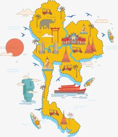 Thailand sightseeing map PNG and Vector Thailand Tourism, Thailand Art, Thailand Travel, Travel Maps, Travel Posters, Thai Pattern, Thailand Adventure, Map Pictures, Thai Art