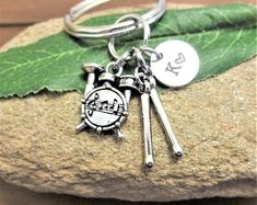 DRUM SET KEYCHAIN with initial charm - Please see all photos to order - One flat rate shipping in my shop :) Drummer Gifts, First Flat, Drummers, Initial Charm, Flat Rate, For Everyone, I Shop, Initials, Etsy Seller