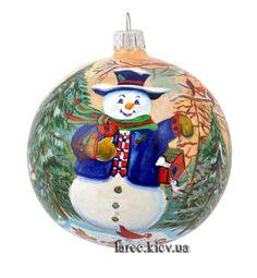 """Подарок Новогодний шар """"Добрый снеговик"""""""