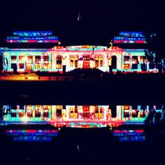 Instagrammer wanderlust73 took this photo of Old Parliament House glowing, thanks to the Enlighten Festival