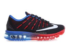 Officiel Nike Air Max 2016 Chaussures Nike Running Pas Cher Pour Homme Noir/Bleu/Rouge/Blanc 764892-603