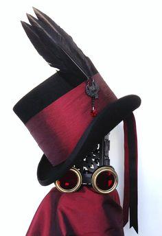 Raven Bordeaux de Sang Gothic Top Hat