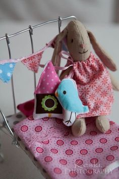 tiny bunting and house cushion for doll furniture