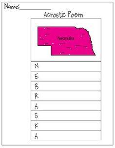 This is a Nebraska Acrostic Poem worksheet.