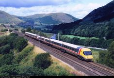 During the final months of testing of the Advanced Passenger Train, a set is seen heading south descending from Shap