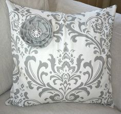 SALE  Paris Storm Gray French Damask Decorative by greenwillowpond, $32.00