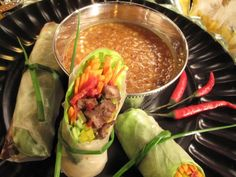 Thai-Italian Spring Rolls with Peanut Dipping Sauce : Recipes : Cooking Channel