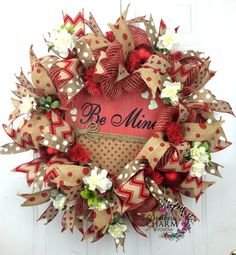 Rustic Burlap Mesh Valentine's Day Wreath by SouthernCharmWreaths #door #valentines #decor #hobbylobby