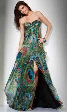 Peacock bridesmaids dress