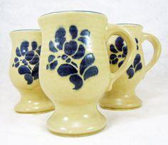 Pfaltzgraff Folk Art Pedestal Mugs Set of 3 by RichardsRarityRealm, $18.00