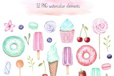 Sweet Watercolor Set, Cupcake Clipart, Donut Clipart, Sweet Patterns By KristyWatercolor Cupcake Painting, Cupcake Clipart, Party Invitations, Cardmaking, Doodles, Diy Projects, Clip Art, Hand Painted, Scrapbook
