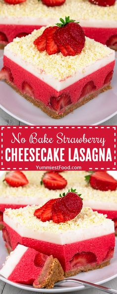 No Bake Strawberry Cheesecake Lasagna is simple and easy dessert recipe for refreshing summer sweet treat and use only a few ingredients: fresh strawberries, whipped cream, strawberry jelly, cream… Strawberry Desserts, Strawberry Cheesecake, Strawberry Jelly, Pumpkin Cheesecake, Cheesecake Recipes, Strawberry Lasagna, Strawberry Garden, Lasagna Recipes, Potluck Desserts