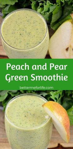 This peach and pear green smoothie is so sweet and tasty you'd never guess there are greens in it. Give it a try if you're new to green smoothies! Healthy Green Smoothies, Green Smoothie Recipes, Yummy Smoothies, Healthy Drinks, Healthy Recipes, Eating Healthy, Healthy Food, Healthy Living, Kiwi Smoothie