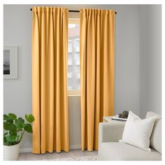 Room darkening curtains prevent most light from entering and provide privacy both day and night by blocking the view into the room from outside. Room Darkening Curtains, Blackout Curtains, Panel Curtains, Living Room Drapes, Living Room Colors, Living Rooms, Thick Curtains, Ikea I, Curtain Length