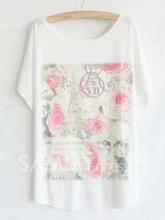 $6.73 Estilo Casual de Algod�n Mezcla de Bajo cuello redondo y Flor de impresi�n T -Shirt para las Mujeres
