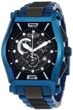 Invicta Men's 0748 Reserve Tonneau Chronograph Black and Blue Ion-Plated Stainless-Steel Watch Amazing Watches, Beautiful Watches, Cool Watches, Dream Watches, Fine Watches, Men's Watches, Wrist Watches, Gq Style, Luxury Watches For Men