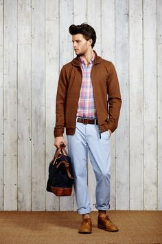 Shop this look on Lookastic:  http://lookastic.com/men/looks/long-sleeve-shirt-bomber-jacket-belt-chinos-tote-bag-brogues/7149  — Pink Plaid Long Sleeve Shirt  — Brown Bomber Jacket  — Dark Brown Leather Belt  — Light Blue Chinos  — Navy Canvas Tote Bag  — Tobacco Leather Brogues