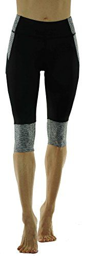 Vesi Star Womens Capri Legging Workout Yoga PantsBlack w Grey Medium ** For more information, visit image link. (This is an affiliate link) #YogaClothing