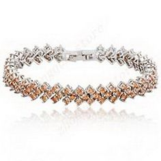 Scott ALlah Bracelets - 2.8 ct Champagne Topaz CZ Tennis Bracelet White Gold Women Wedding Costume Accessories Bangle 6.89in >>> Find out more about the great product at the image link.