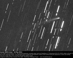The Virtual Telescope Project imaged Comet 209P/LINEAR on May 20, 2014. The telescope mount tracked the apparent motion of the comet, so stars are trailing.
