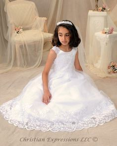 Organza Lace and Beading First Communion Dress Christian Expressions