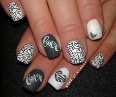 Grey and White Valentines Day Nails All the love without the pink or red ;) #YoungNails #BornPretty #BundleMonster