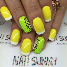 Yellow and Green Summer Nail Art Design. The melon touched summer nails are so pretty to wear!