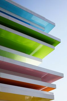 rainbow mille-feuille, Shimura Branch of the Sugamo Shinkin Bank by Tokyo-based, French architect and designer Emmanuelle Moureaux www. Architecture Design, Gothic Architecture, Amazing Architecture, Japan Architecture, Building Architecture, Banks Building, White Building, Modern Buildings, Exterior