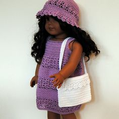 PDF Crochet Pattern - American Girl Doll Clothes 26 - Dress, hat and bag. $5.00, via Etsy.