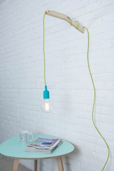 Turquoise Pendent Lamp, Bare Bulb Lamp with a Colord Cord, Silicone Rubber Pendent Lamb with a Wall Plug