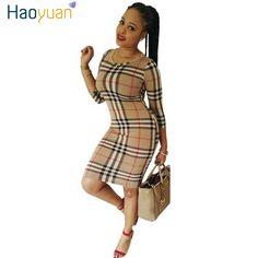 נשים סתיו dress סתיו 2017 חדש באיכות גבוהה אלגנטי רזה שמלות סקסיות המפלגה Bodycon שרוול ארוך משובץ בציר בתוספת גודל dress