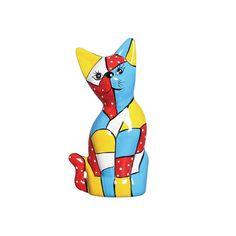Estatueta Gato Mosaico de Cerâmica. Este lindo gato decorativo é super descolado, descontraído e moderno. Ótima opção para sua decoração.