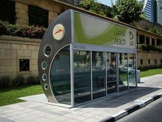 Air Conditioned Bus Stop Fully enclosed bus stop with air conditioning in Dubai.