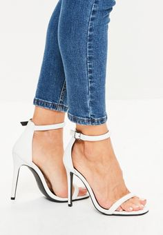 Missguided - White Croc Effect Rounded Strap Barely There Heels