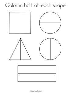 Color in half of each shape Coloring Page - Twisty Noodle Fractions Worksheets, Dividing Fractions, Multiplying Fractions, Equivalent Fractions, Teaching Shapes, Teaching Math, Fraction Activities, Math Activities, Math Literacy