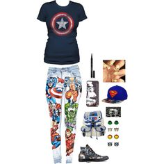 Such a geek by miasyren on Polyvore featuring polyvore, fashion, style, Converse, R2, Elizabeth Arden and INC International Concepts